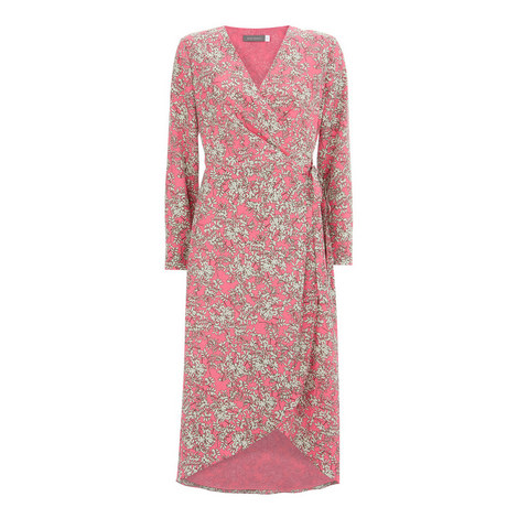 Daisy Print Wrap Dress, ${color}