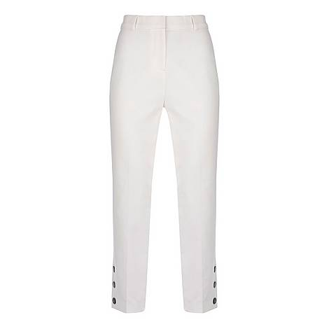 Ivory Button Hem Capri Trousers, ${color}