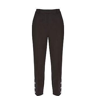 Button Hem Capri Trousers