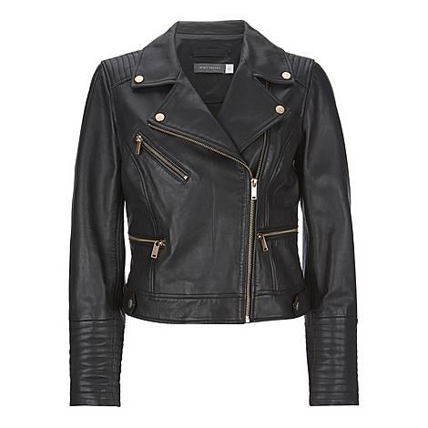 Stitched Leather Biker Jacket, ${color}