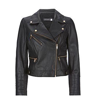Stitched Leather Biker Jacket