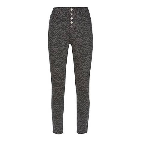 Joliet Leopard Buttoned Jean, ${color}