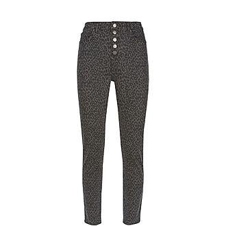 Joliet Leopard Buttoned Jean