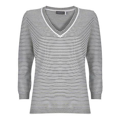 Striped V-Neck Tee, ${color}