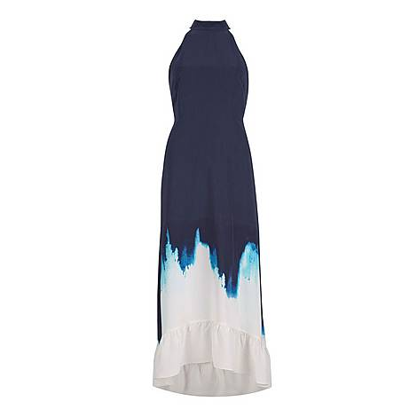Iris Print Halter Maxi Dress, ${color}
