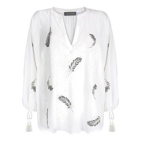 Feather Embroidered Top, ${color}