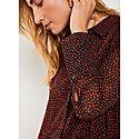 Flossy Print Dipped Hem Shirt, ${color}