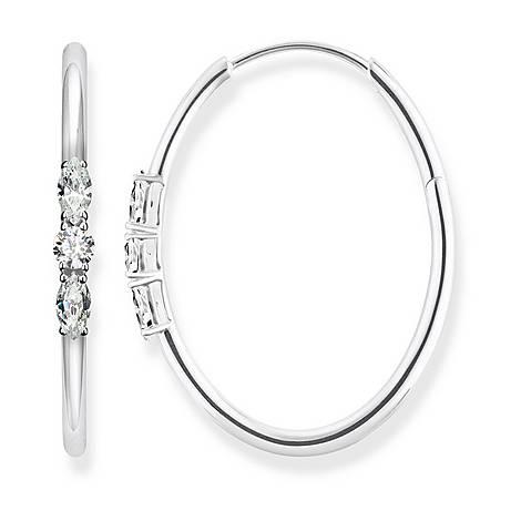 Royalty White Stones Hoop Earrings, ${color}