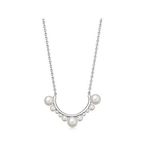 Sterling Silver & Pearl Scoop Necklace, ${color}