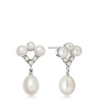 Sterling Silver & Pearl Drop Earrings