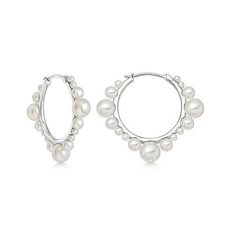Sterling Silver & Pearl Hoop Earrings, ${color}