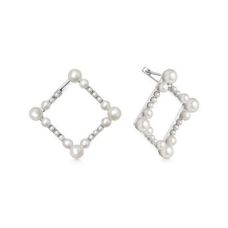 Sterling Silver & Pearl Square Earrings, ${color}