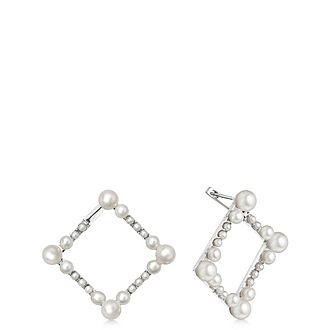 Sterling Silver & Pearl Square Earrings