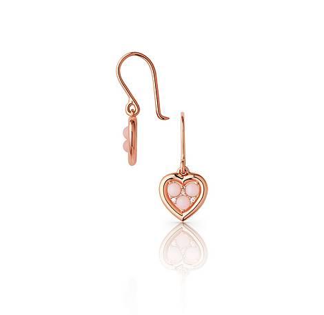 Open Heart Opal & Diamond Drop Earrings, ${color}