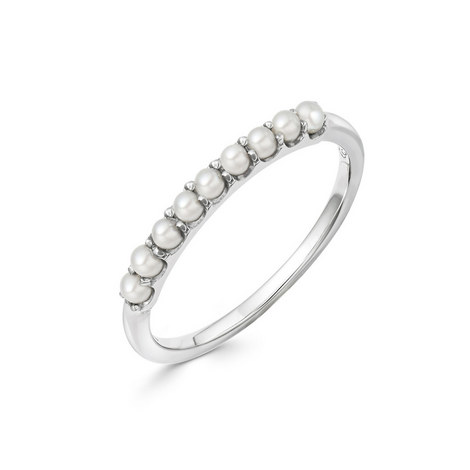 Sterling Silver & Pearl Band Ring, ${color}