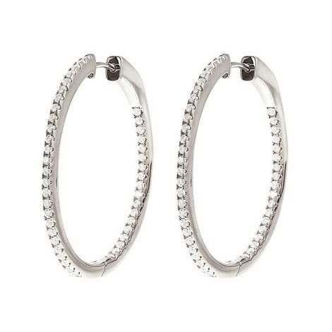 Fashionably Stone Hoop Earrings, ${color}