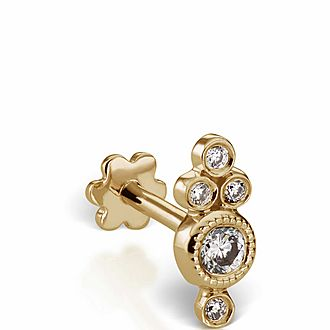 Four Diamond Trinity Threaded Stud