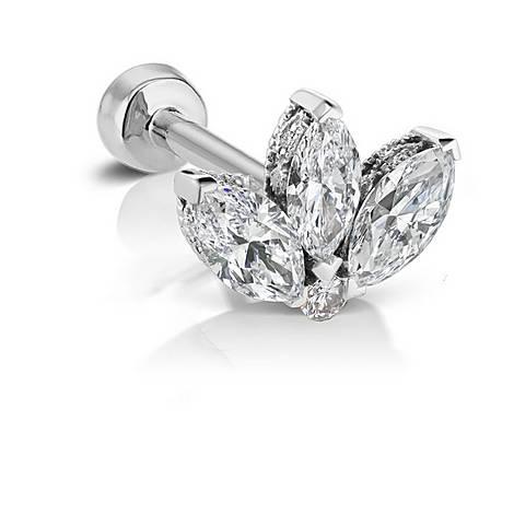 3mm Diamond Engraved Lotus Threaded Stud, ${color}