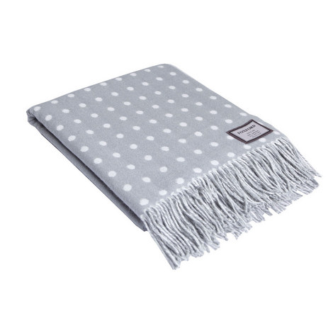 Polka Dot Rolled Fringe Throw, ${color}