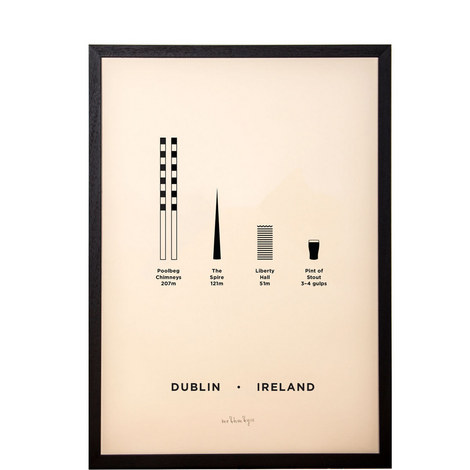 Dublin City Framed Screenprint A3, ${color}