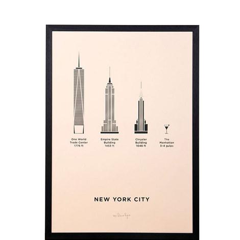 New York City Framed Screenprint A3, ${color}