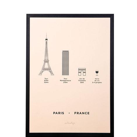 Paris City Framed Screenprint A3, ${color}