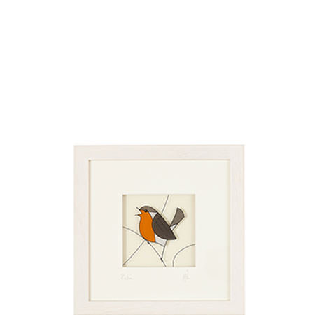 Robin Glass Painting Framed, ${color}