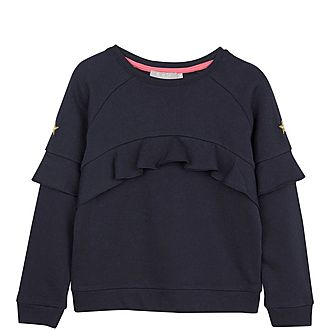 Navy Ruffled Yoke Sweatshirt