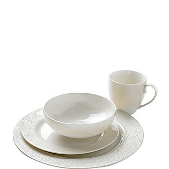 Lucille 16 Piece Gold Dinner Set