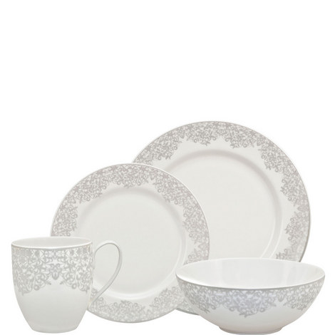 Monsoon Filigree Silver 16 piece Dinner Set, ${color}