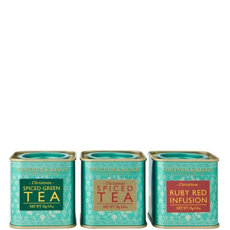 Set of 3 Mini Christmas Spiced Tea Tins 25g, ${color}