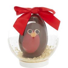 Chocolate Robin Snow Globe