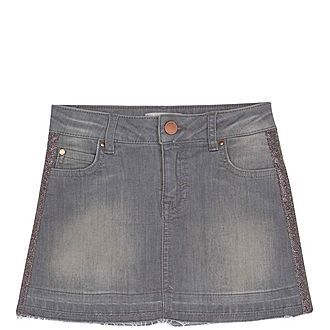 Glitter Trim Denim Skirt
