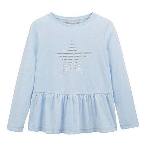 Star Print Peplum T-Shirt, ${color}