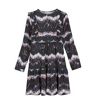 Tie-Dye Print Ruffle Dress