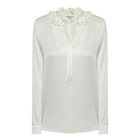 Ruffle Crepe Satin Blouse, ${color}