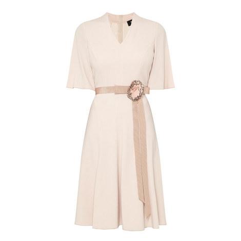 Crêpe Belted Dress, ${color}