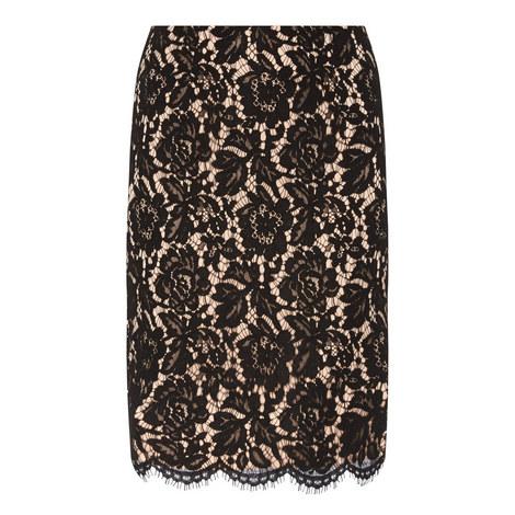 Floral Lace Pencil Skirt, ${color}
