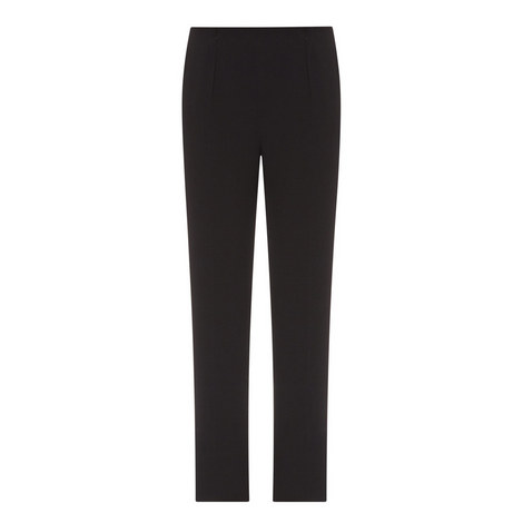 Straight Fit Crepe Trousers, ${color}