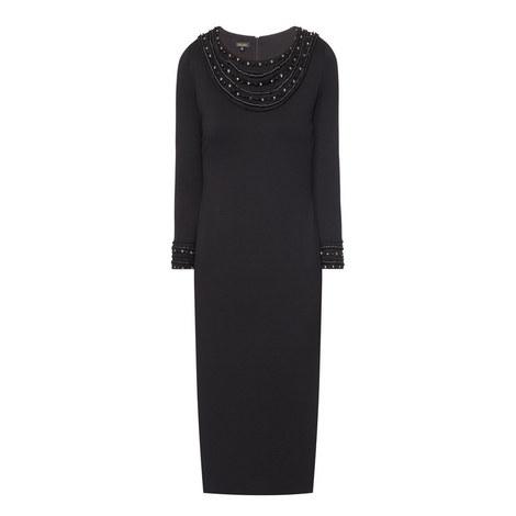 Evokunia Embellished Round Neck Dress, ${color}