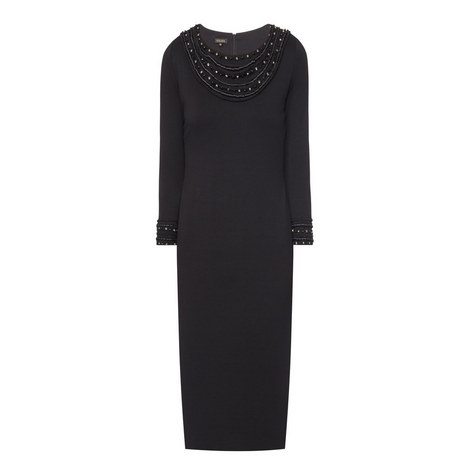 Evokunia Embellished Round Neck Dress, ${color}