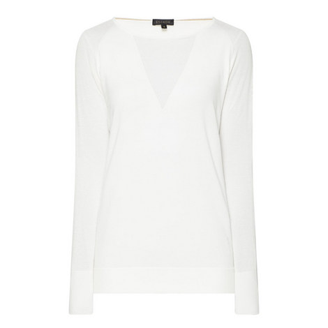 Sheer Panel Sweater, ${color}