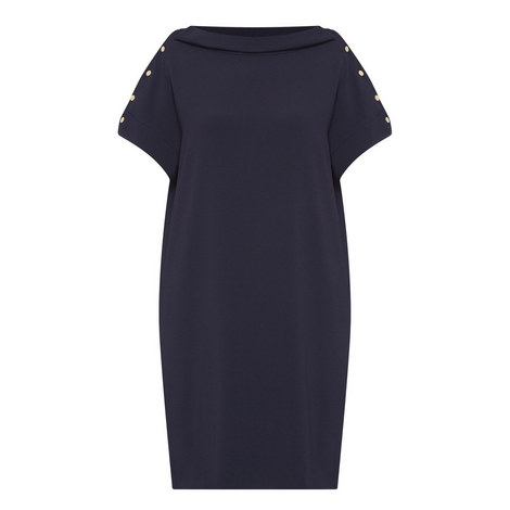 Crêpe Button Sleeve Dress , ${color}