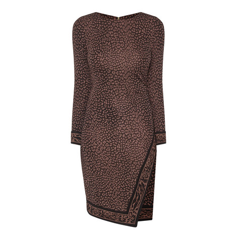 Leopard Print Wrap Dress , ${color}