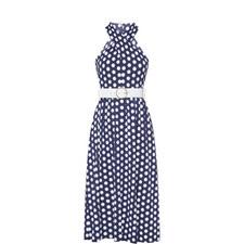 Dot Halter-Neck Midi Dress