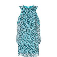 Carnation Print Cold-Shoulder Dress