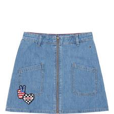 Denim Badge Skirt
