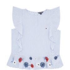 Cap Sleeve Stripe Floral Top