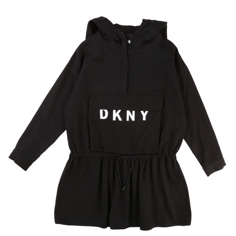 Drawstring Sweatshirt Dress Teens, ${color}