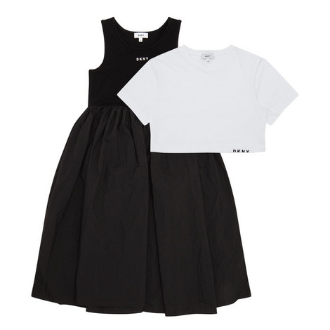 T-Shirt and Pleated Dress Set, ${color}
